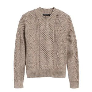BR Mushroom Taupe Cable Knit Sweater Cropped - XS